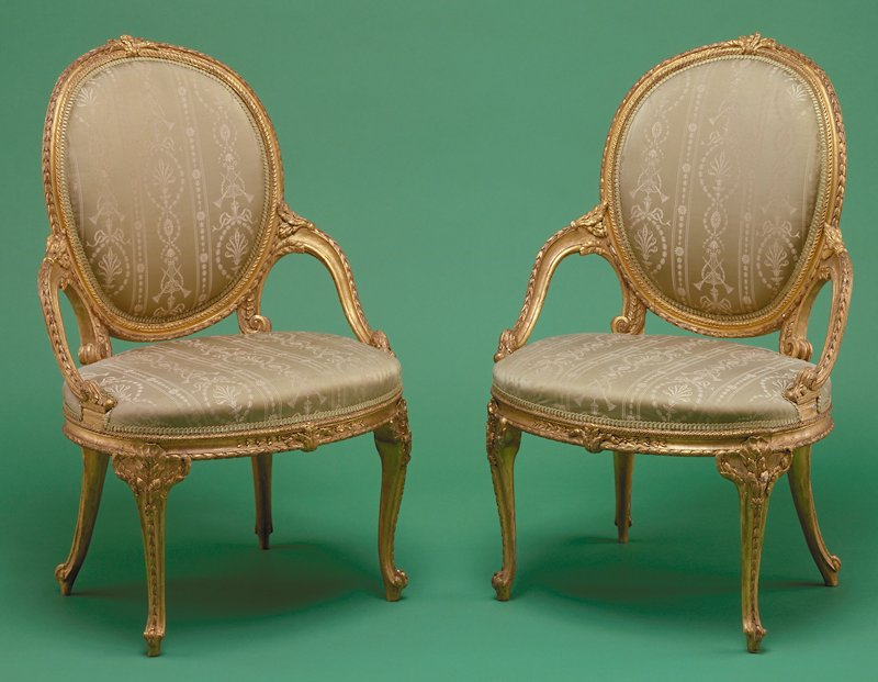 side chair, gilded birch, possibly Wm. Gordon or John Taitt; originally part of a suite including confidante, 8 armchairs, and 5 window seats, some of which are in the Metropolitan Museum, New York City