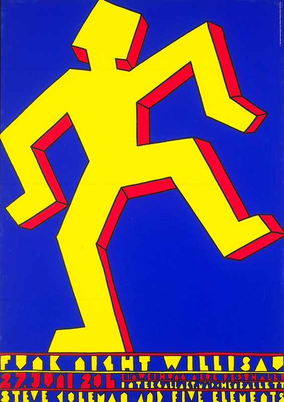 outline of stick figure with one foot raised in yellow and red on blue background; black metal frame