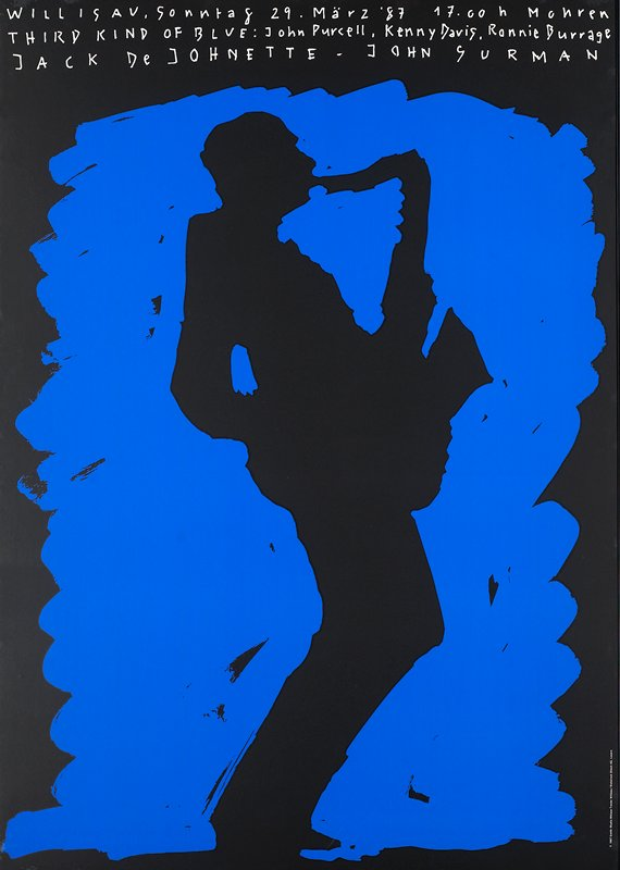 black silhouette of saxophone player against blue background; black metal frame