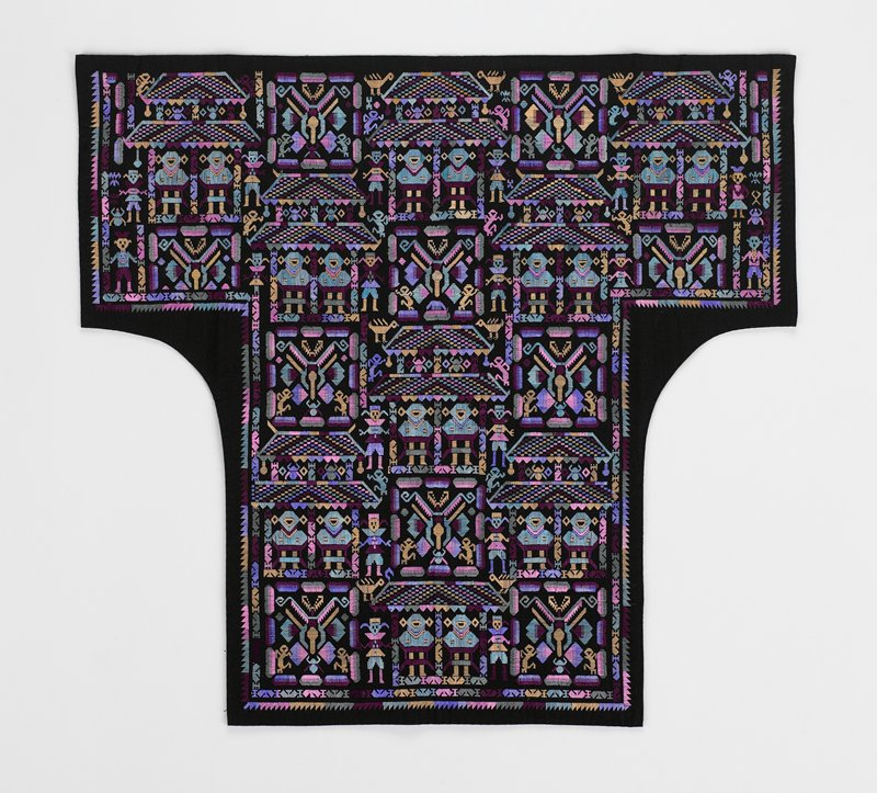 "two embroidered patterns repeated diagonally--one is a pagoda with two figures, 5-3/4"" x 5-1/2""--other is flora and fauna, 3-1/2"" x 3-3/4""; ""clean"" colors of lavender, pink, gold, teal, maroon; lined in black"