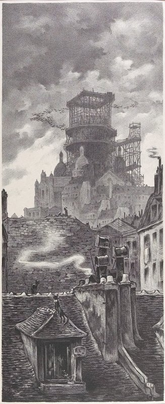rooftops in foreground with dormer window with plant in windowbox and birdcage hanging next to window; two cats on rooftop; large building complex in background with scaffolding; arc of birds flying at top of scaffolding
