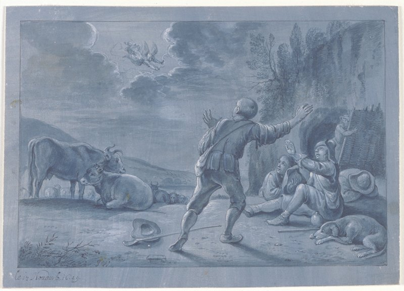 Four young male shepherds, one asleep; a sleeping dog in foreground, two cows to left; angel is fairly distant in the sky, flying through a break in the clouds