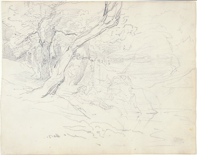 figures in a landscape, recto; farm building, verso