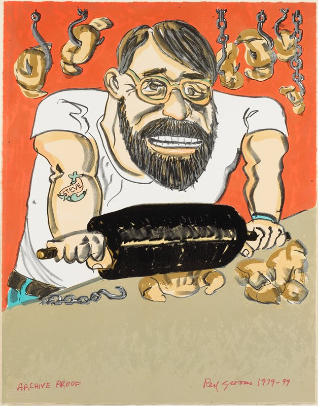 Potrait of master printer Steven Andersen, intended for the portfolio Sex in the Midwest (unrealized), along with Croissant Crusher (cat. no. 100), Rosie's Closet (cat. no. 103), the Pancake Eater (cat. no. 110), The Tattoo Artist (cat. no. 111), and Lion Licker (never printed as an edition and not included in the archive). Groom's flamboyant lithograph was inspired by Andrew Wyeth's Christina's World (1948), an icon of 20th-century American painting.