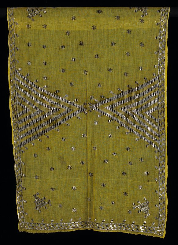 yellow-green very fine cotton with white metal strips of embroidery; rectangular