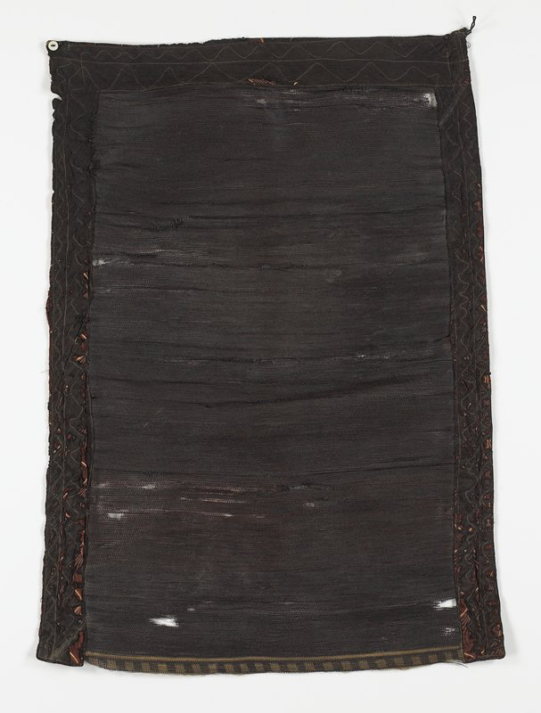 woven or knotted horsehair; woven black cotton border on three sides; button and loop on top corners