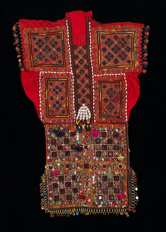 highly ornamented squares with beads, sequins, mirrors, tassels, stitching and simple embroidery; arm openings and gussets in red cotton; orange and multicolor