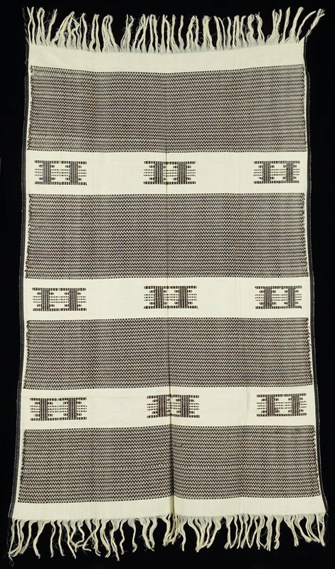 """four wide horizontal bands--zigzag pattern in brown, black and gold metal on off-white; 3"""" plain off-white border at each end; three alternating bands with woven pattern in brown, black and gold metallic thread; 1/2"""" selvage on each side; entire design is supplementary weft"""