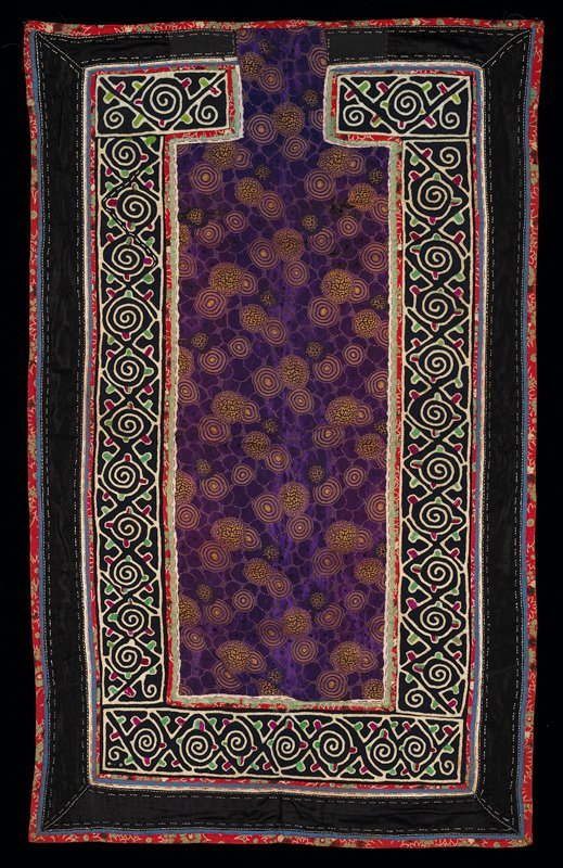 center panel of purple silk brocade bordered in black with spiral embroidered and appliqued narrow bands; blue, black, white, magenta and green; blue lining