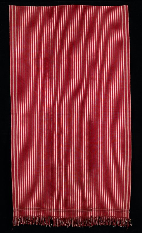 "red striped with narrow tan stripes; 2-1/4"" fringe; small square patterned horizontal strip near fringed end"