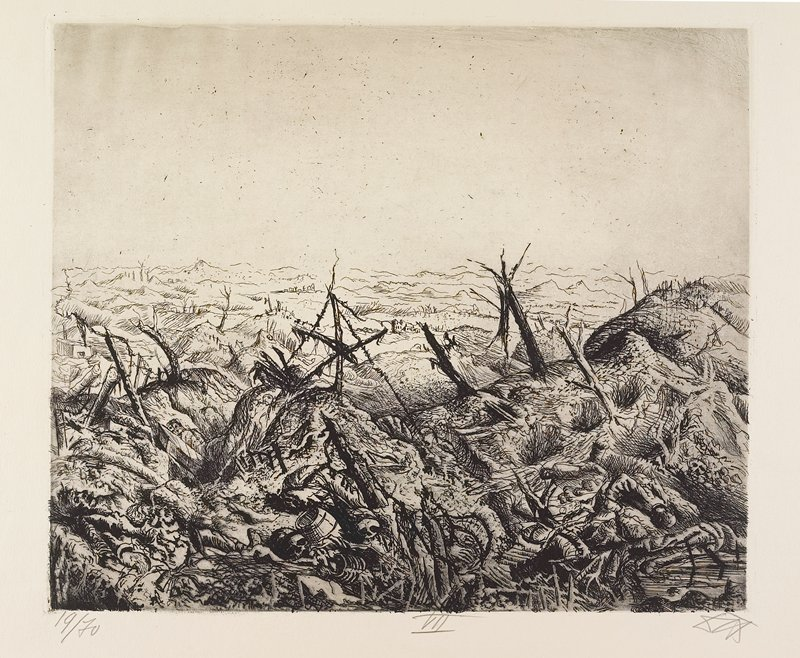 deserted battlefield with fence posts and wire in cratered landscape; body parts, skulls and bones in foreground; small buildings far in background