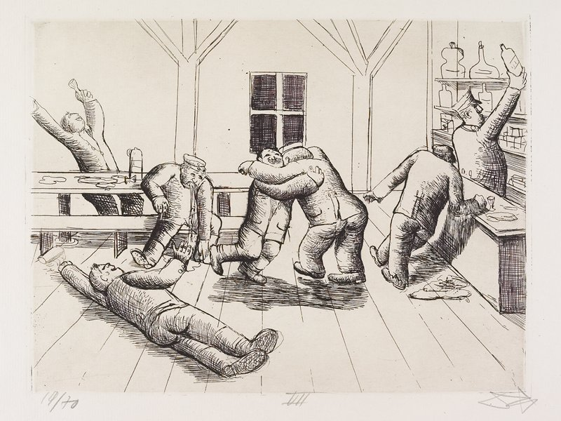 man reaching for a bottle behind a bar at R; other men lying down, stretching, vomiting, dancing and staggering