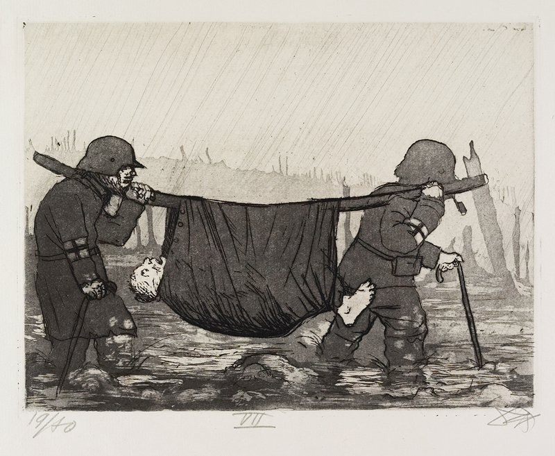 two medics trudging through knee-deep water, carrying a man in a sling on a pole