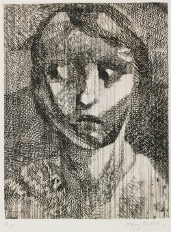 slightly blocky style; shaded with crosshatching; head of a young girl with bobbed hair, frowning, looking toward PR