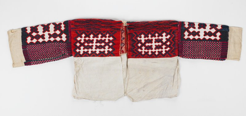 red, blue wool/linen jacket; upper body, front and back and sleeves embroidered and appliqued in geometric design; separate but attached rectangular collar is orange, black and red on white