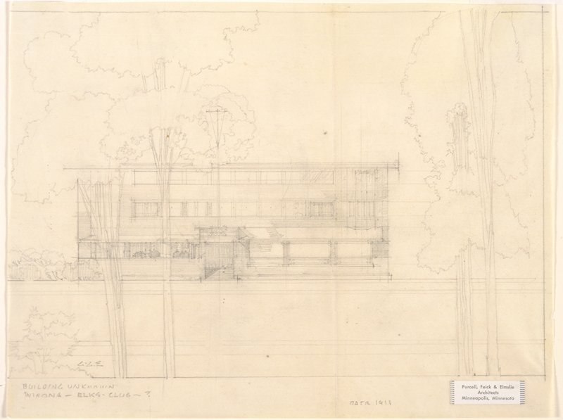 Front view architectural sketch of a boxlike building with ribbon windows; trees at edges; matted and framed. Sheet backed with coated white wove paper. Sheet is creased vertically.