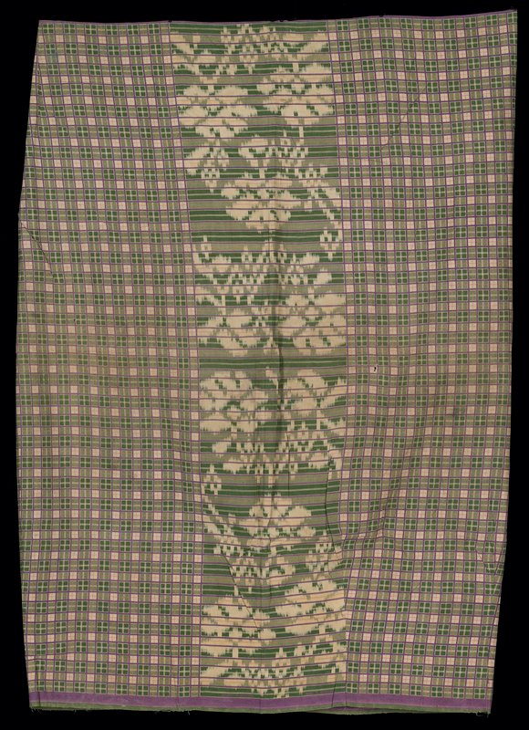 """green, purple and off white; small outlined plaid pattern with 10"""" ikat center; four darts at top and bottom; selvedge hemmed on one side"""