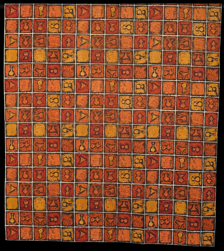 shades of orange and yellow with black printed on white; grid design with squares of crosshatching and squares containing vessel-like shapes