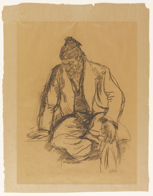 seated man looking down, with PL hand on PL knee and PR foot under PL knee; man has beard and wears cap and jacket