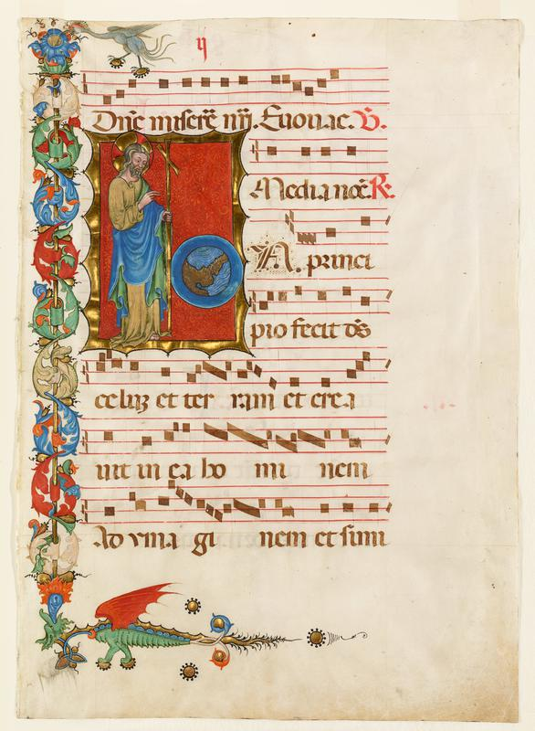 music sheet with inset standing figure with the world against red ground at UL with L and bottom borders painted decoratively; recto elaborate historiated initial 'I' God created the world; also border decoration with dragon and bird