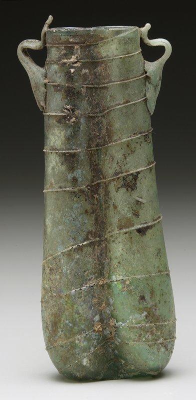 double perfume vessel, green glass