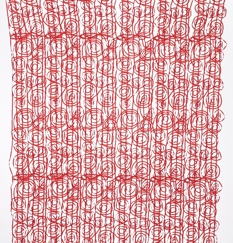 red, very narrow tape interlaced in vertical circular patters in irregular sizes; very open weave