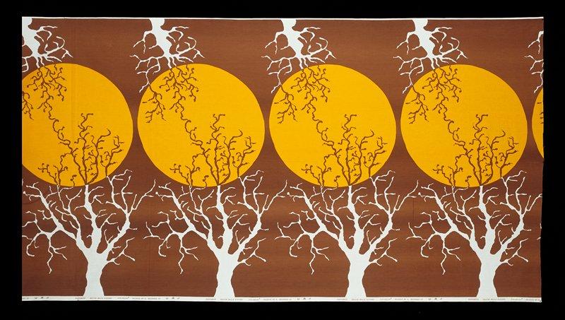 Yellow circles, white trees; brown bkg.
