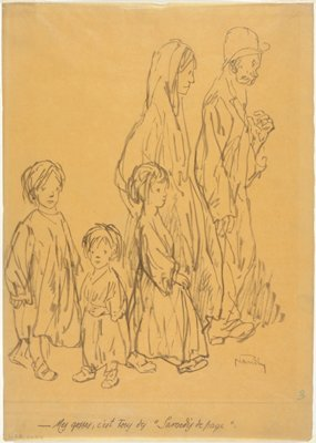 Two adults, a man and a woman, and three childen, two boys and a girl
